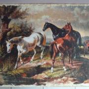 plateau ardoise chevaux